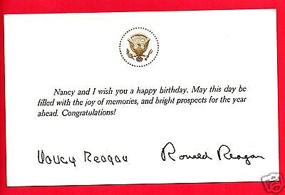 PRESIDENT RONALD & NANCY REAGAN SIGNED BIRTHDAY CARD WITH EMBOSSED SEAL