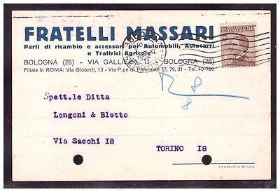 Cartolina Fratelli Massari Parti di Ricambio e Accessori per Auto Bologna KY598