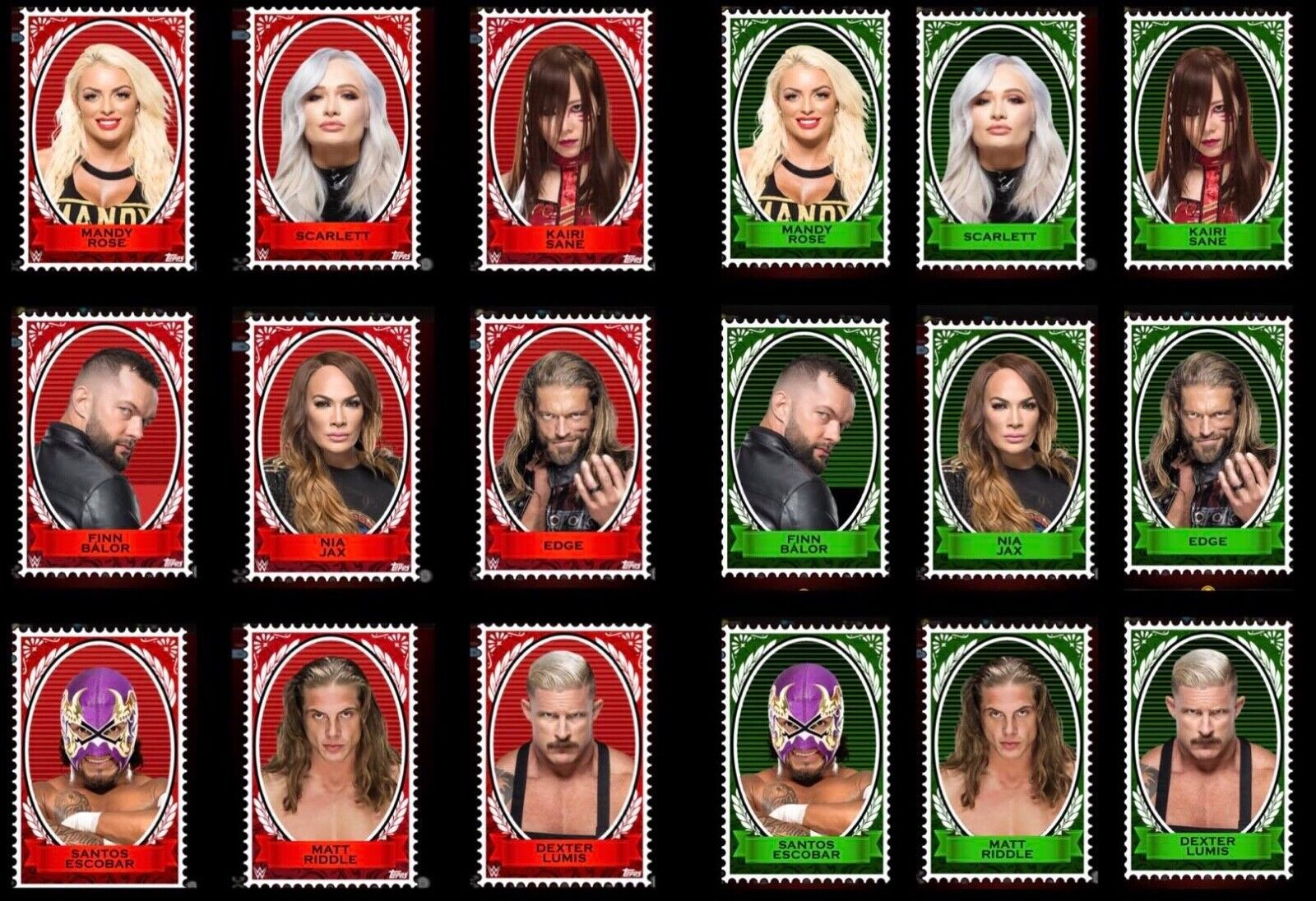 STAMPS Wave 3 RED & GREEN DIE-CUTS 18 CARD SET Topps WWE SLAM DIGITAL TRADER