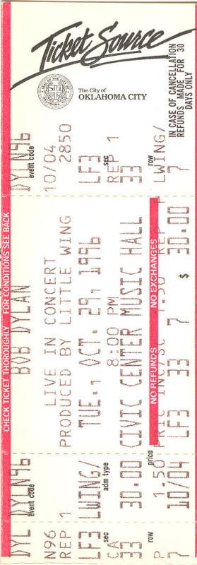 Bob Dylan Concert Ticket 1996