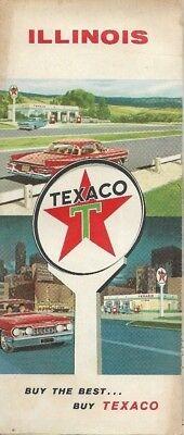 1960 Texaco Oil Road Map Illinois Route 66 Springfield Decatur Rockford Peoria