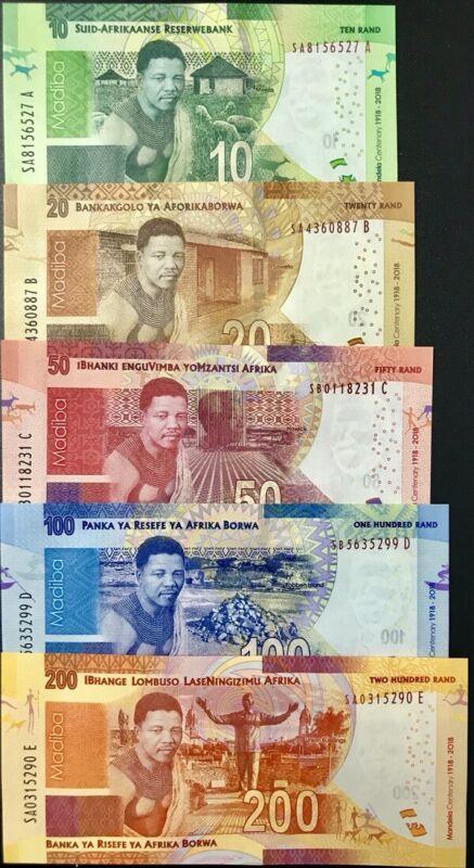 SOUTH AFRICA SET 5 UNC 10 20 50 100 200 RAND 2018 P NEW DESIGN 100TH MANDELA