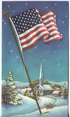 VINTAGE CHRISTMAS NIGHT STARS SNOW VILLAGE CHURCH US FLAG GREETING LITHO CARD