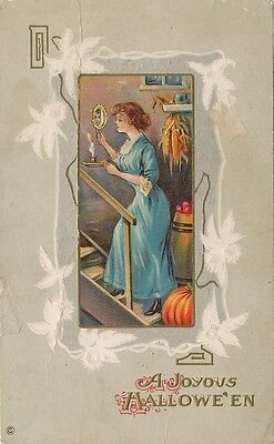 Halloween PC ca. 1908 * Girl with Mirror and Candle * Embossed