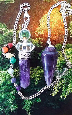 2 STUNNING AMETHYST CRYSTAL WITH HERKIMER DIAMOND DOWSING PENDULUMS WITH POUCHES