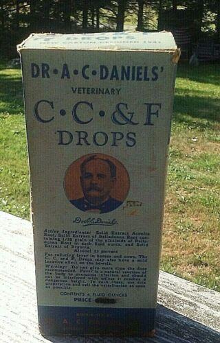 """VINTAGE DR A C DANIELS VETERINARY CC&F DROPS 4 oz  5.5"""" tall"""