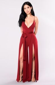 Burgundy taylor tie jumpsuit-Fashion Nova