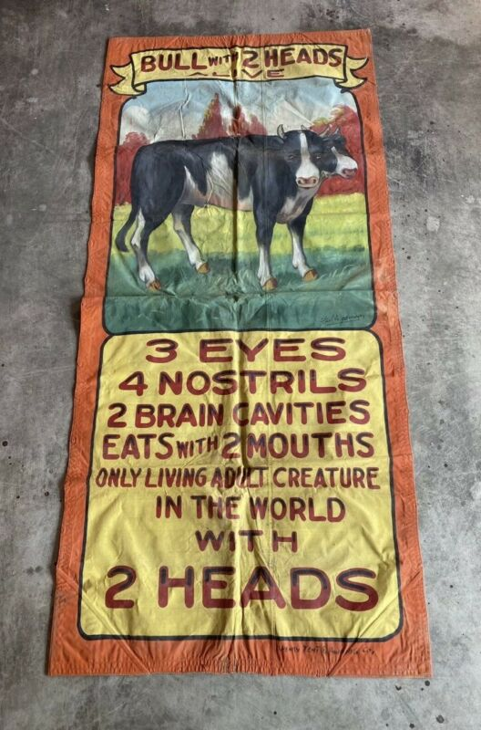 1940s ORIGNAL Fred Johnson Sideshow Banner Two Headed circus freakshow Taxidermy