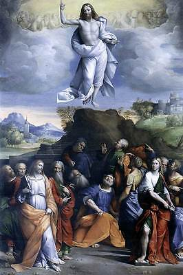 Jesus Ascension (Ascension of Jesus Christ Into Heaven Christian Art Bible Real Canvas)