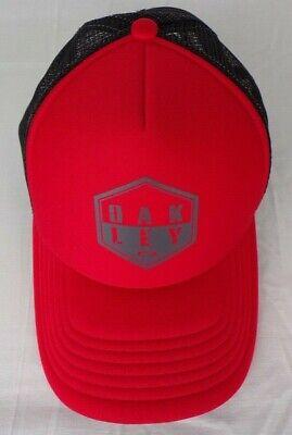 Oakley Adjustable Baseball Cap Trucker Hat Red Black Mesh Snapback Spell Out