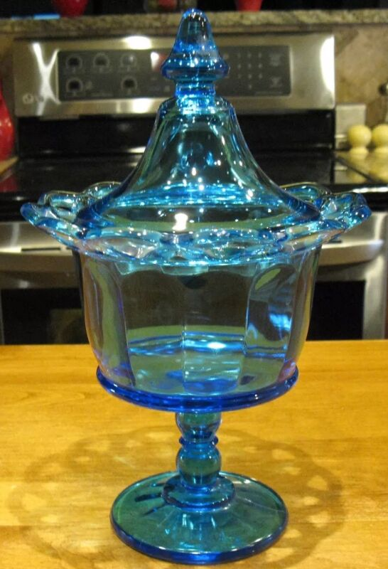 Vintage Imperial Glass Colonial Blue Laced Edge Covered Compote / Candy Dish