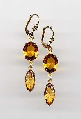 AMBER TOPAZ ETCHED Carved Marquise cut-crystal EARRINGS 14K Gold gp *Vtg Czech