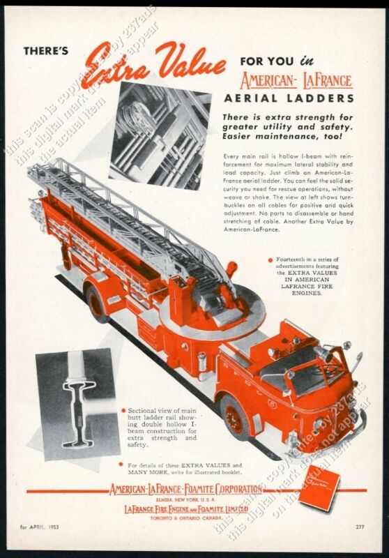 1953 American-LaFrance aerial ladder fire truck photo vintage trade print ad