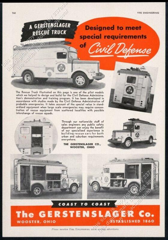1951 Civil Defense Rescue Service Demonstrator Truck photo Gerstenslager ad