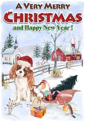 """Cavalier King Charles Spaniel Dog A6 (4"""" x 6"""") Christmas Card - Blank inside"""