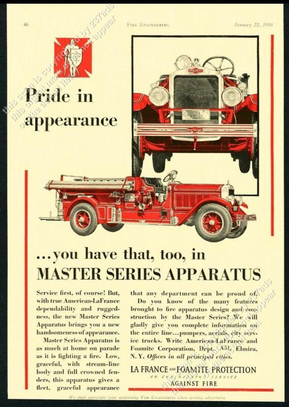 1930 American-LaFrance fire truck Master Series pumper photo vintage print ad