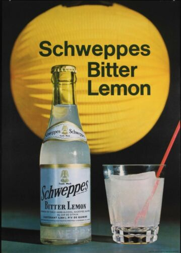 SCHWEPPES BITTER LEMON Vintage 1967 Swiss advertising poster 36x51 RARE NM