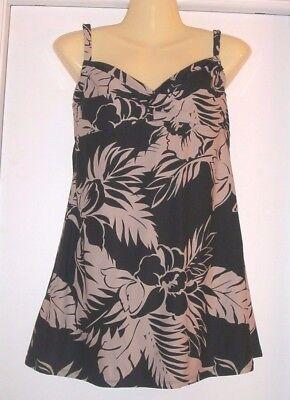 Beach House Swimdress Swim Dress BLACK/NUDE Floral Shirred Bust Excellent Sz 12
