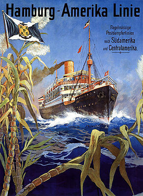 Hamburg Amerika Linie Postdampferlinie Südamerika Centralamerika Plakate A2 290