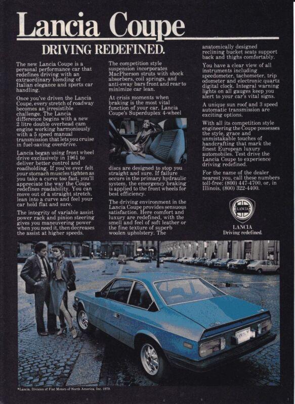 1979 LANCIA COUPE  ~  CLASSIC ORIGINAL PRINT AD