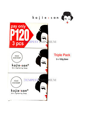 Kojie San Triple Pack 3 x 100g Kojic Acid Soap Skin Lightening New & Boxed