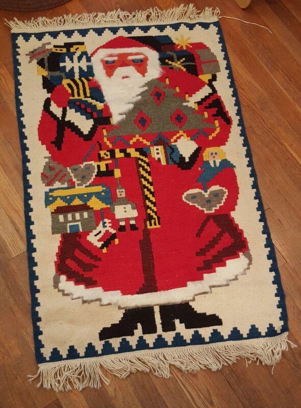 RARE West Germany woven rug wall hanging Santa Xmas antique vtg (B1)