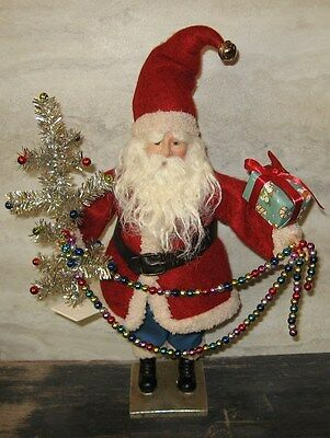 Christmas Santa Claus Figurine w/Melodious Tinsel Tree*Primitive/French Country*New