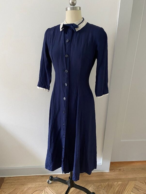 1930s 1940s Blue And White Dress