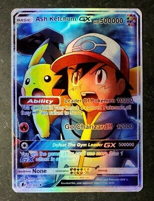 POKEMON: PIKACHU - ASH KETCHUM GX FULL ART HOLO CUSTOM ORICA CARD NOT TCG READ D