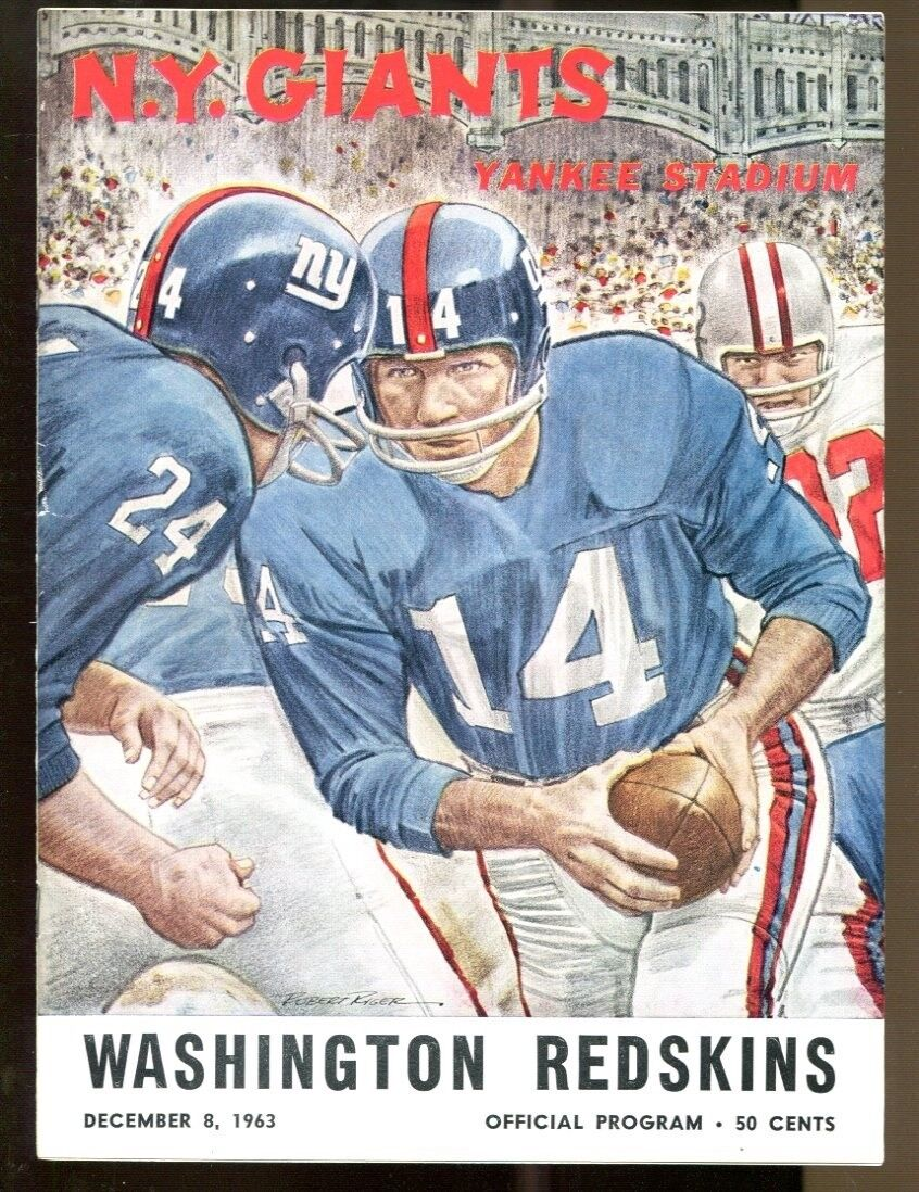 1963 New York Giants v Washington Redskins Program 128 Yankee