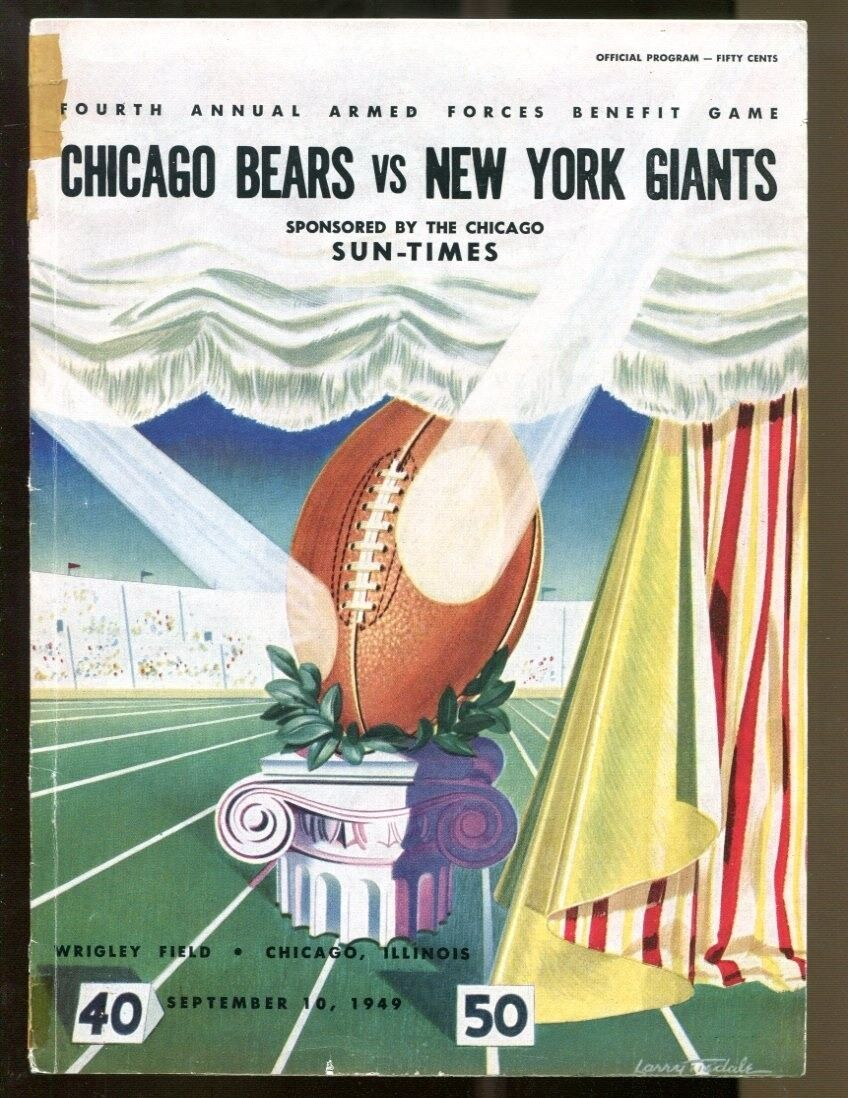 1949 New York Giants v Chicago Bears Program 910 Armed Forces