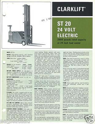 Fork Lift Truck Brochure - Clark - St 20 - 24v Electric - C1971 Lt166