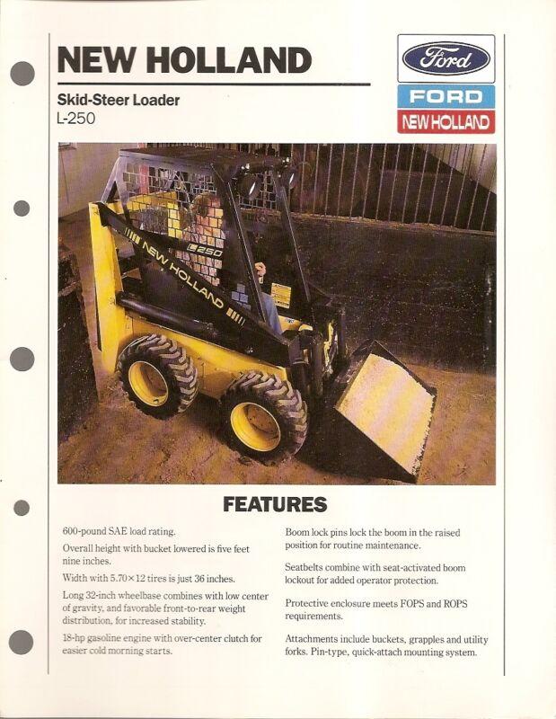 Equipment Brochure - New Holland - L-250 Skid Steer Loader - 1989 (E1336)