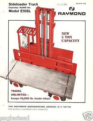 Fork Lift Truck Brochure - Raymond - E10sl - Side Loader - 1967 Lt235