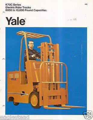 Fork Lift Truck Brochure - Yale - K70c Series - Electric - C1972 Lt16