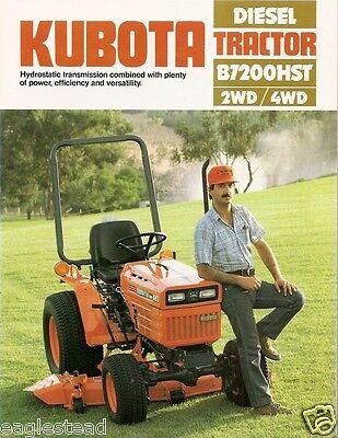 Farm Tractor Brochure - Kubota - B7200hst - 2wd 4wd - Diesel - C1985 Fb577