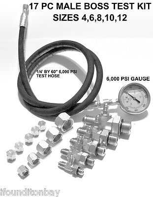 Hydraulic O-ring Boss Orb Pressure Test Kit 0-6000 Psi Tractor Forklift Tester