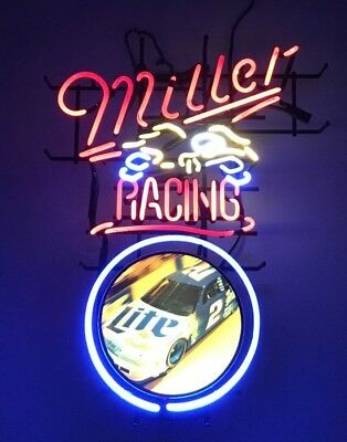 Rare Miller Lite Racing Large Authentic Neon Sign Beer Bar Pub Light Budwiser 2