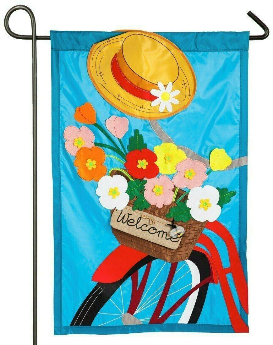 summertime bicycle double sided applique spring garden