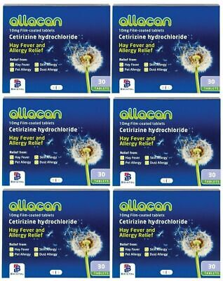 Cetirizine Hydrochloride 10mg - 6 Packs (Total 180 Tablets) Hayfever Relief