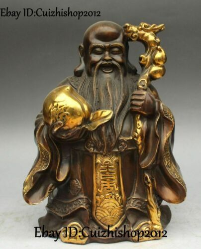 "12"" Chinese Bronze Gild Dragon Shouxing Longevity Star God was Peach statues"