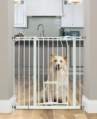 Carlson Walk-Thru Gate Dog Cat Kids Baby Highly SAFE Large Extra-Wide + Pet Door