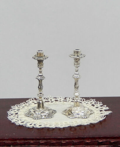 Vintage Sterling Silver Acquisito Candlesticks Pair Dollhouse Miniature 1:12