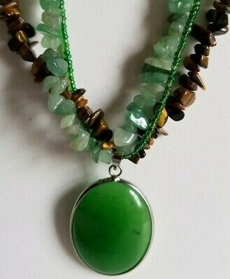 Tigers eye chip multi-strand green stone drop pendant necklace seed beads 18khp