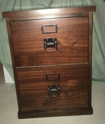 2 Drawer Wood Finish File Cabinet - Pottery Barn BEDFORD 2 Drawer Filing Cabinet Dark Stained Wood - EXPRESSO Finish