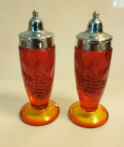 Vintage Grape Motif Amberina Salt and Pepper Shakers LE Smith?