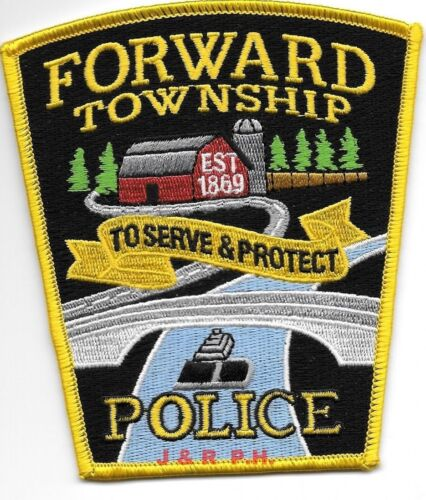 """Forward Township, Pennsylvania 1869 (4"""" x 4.5"""") shoulder police patch (fire)"""