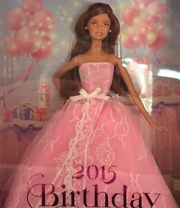 New BARBIE 2015 BIRTHDAY WISHES Collector PINK LABEL Doll LATINA Auburn CJY58