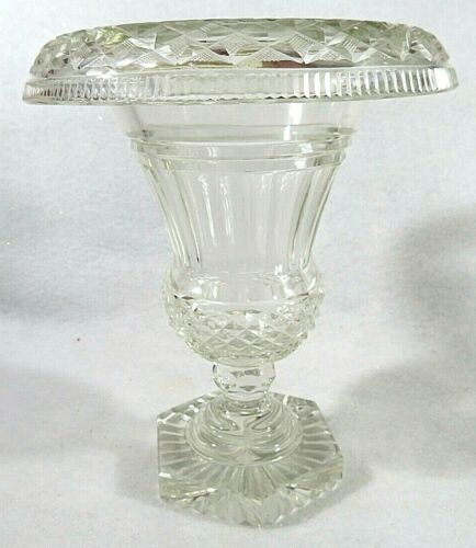 Irish Georgian Cut Glass Antique Regency Rolled Top Footed Bowl