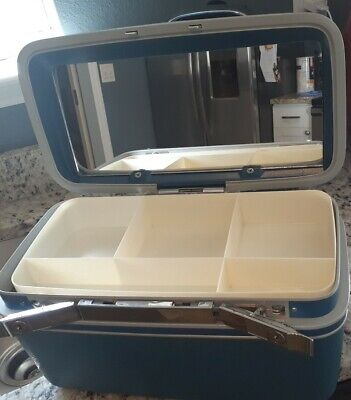 Vtg Blue / Chrome trim Samsonite Profile Makeup Train Case+Tray+Key #170S+mirror